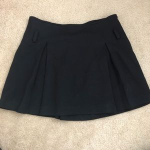 Intermix vintage black wool pleated mini skirt USA